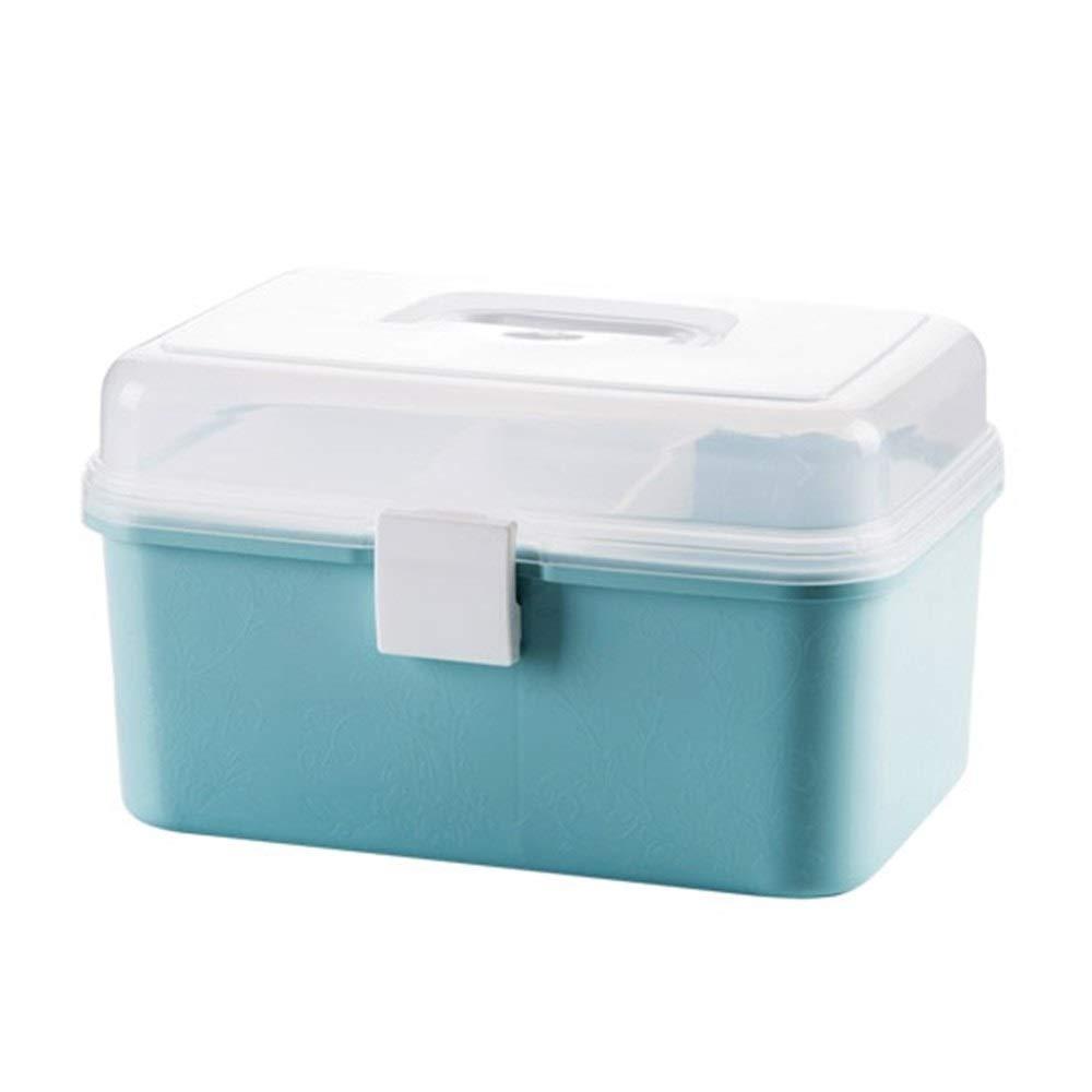 TZSMYX Botiquín Caja de Medicina de plástico Kit de Primeros Auxilios Caja de Pastillas Organizador de Medicina Caja de joyería Maquillaje Envase de cosméticos TYTZSM (Color : Blue): Amazon.es: Hogar