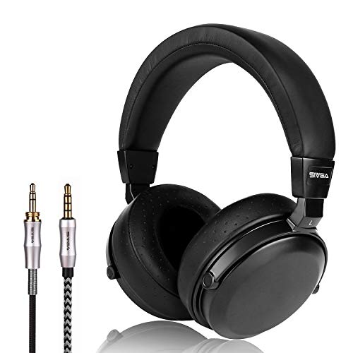 SIVGA SV002 Premium Wood Over-Ear Close Back Passive Noise Cancelling Stereo Headphones with Microphone, Soft Earmuffs Earphone with Leather Case (Black)