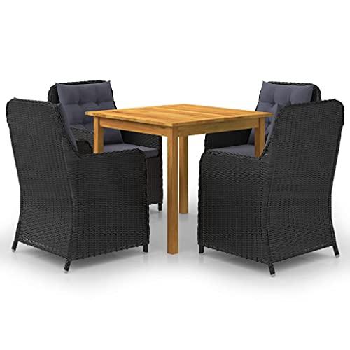 vidaXL Gartenmöbel Set 5-TLG. Sitzgruppe Gartengarnitur Sitzgarnitur Gartenset Tisch Stühle Sessel Gartensessel Gartentisch Schwarz