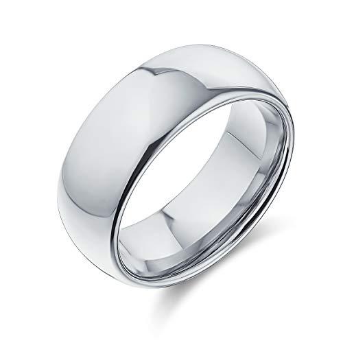 Bling Jewelry Simple Plaine Grande Dome des Couples De Mariage Anneau De Tungstène pour Femme Homme Ton Argent Poli 4MM