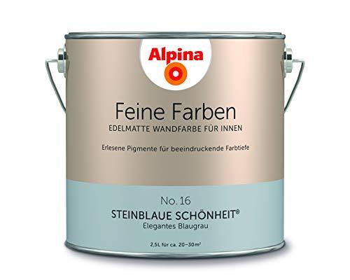 Alpina 2,5 L. Feine Farben, Farbwahl, Edelmatte Wandfarbe für Innen (No.16 Steinblaue Schönheit - El