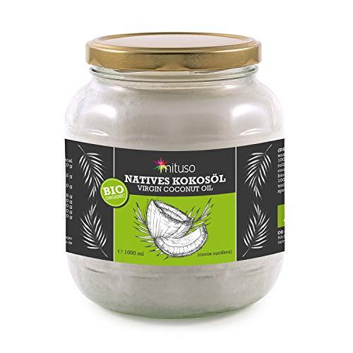 Aceite de coco orgánico mituso, nativo, 1 paquete (1 x 1000 ml) en un vaso