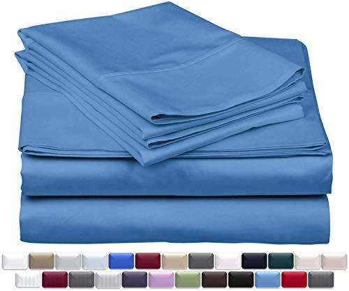 True Luxury 1000-Thread-Count 100% Egyptian Cotton Bed Sheets, 4-Pc King Deep Blue Sheet Set, Single Ply Long-Staple Yarns, Sateen Weave, Fits Mattress Upto 18'' Deep Pocket