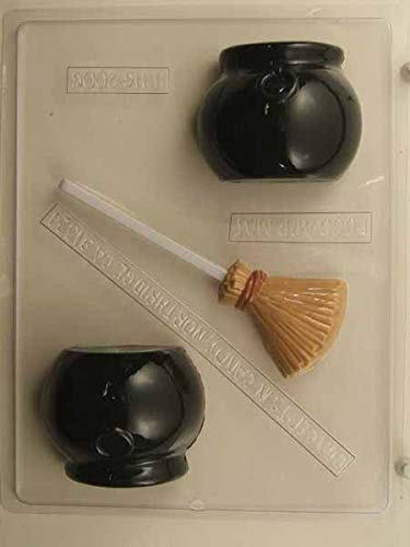3-D Witch's Cauldron and Broom Pieces and Lollipop Candy Mold H116