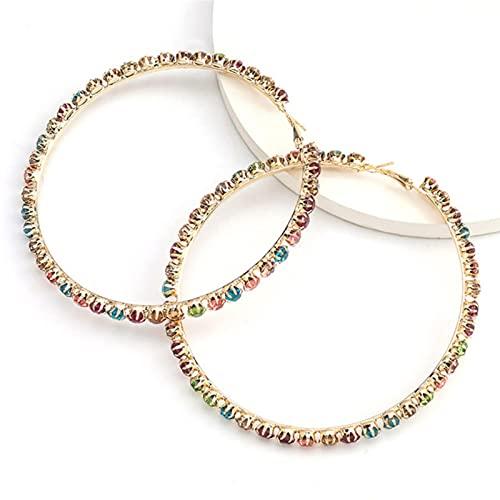 CXWK Pendientes Circulares Grandes con Diamantes de imitación para Dama de Moda, Pendientes de Lujo exquisitos, Pendientes de Cristal Brillante, joyería, joyería para Fiestas