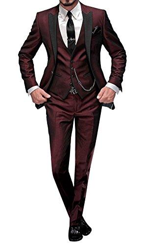 George Abito Completo Uomo 5 Pezzi Tuta con Blazer,Pantaloni,Gilet, Cravatta,Piazza Pocket 002,Borgogna,S