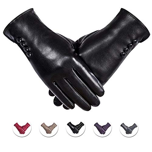 Winter PU Leather Gloves For Women, Warm Thermal Touchscreen Texting Typing Dress Driving Motorcycle Gloves With Wool Lining (Black-S)