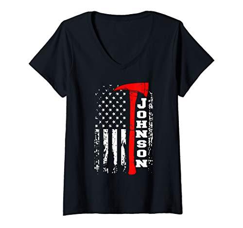 Womens Johnson Firefighter Shirt Surname Johnson Family Gift V-Neck T-Shirt