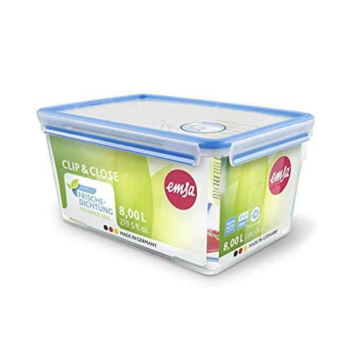 Emsa Clip & Close 508548 Rechteckige Frischhaltedose mit Deckel, 8 Liter, Transparent/Blau