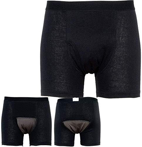 失禁パンツ 尿もれパンツ 150cc吸収 前開き 男性用 メンズ 失禁対策 尿もれ対策 ボクサータイプ 1枚入 (チャコールグレー, Mサイズ/ウエスト 76〜84cm)