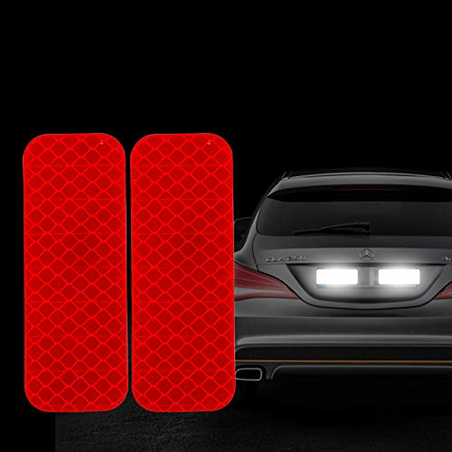 FOLCONROAD 10Pcs Car Reflective Warning Strip Stickers Safety Warning Light Reflector Protective Sticker [RED-Rectangle][US Warehouse] Auto Christmas Decorations