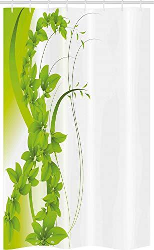 ABAKUHAUS Grün Schmaler Duschvorhang, Blühende Fantasie Flora, Badezimmer Deko Set aus Stoff mit Haken, 120 x 180 cm, Apfelgrün Weiß