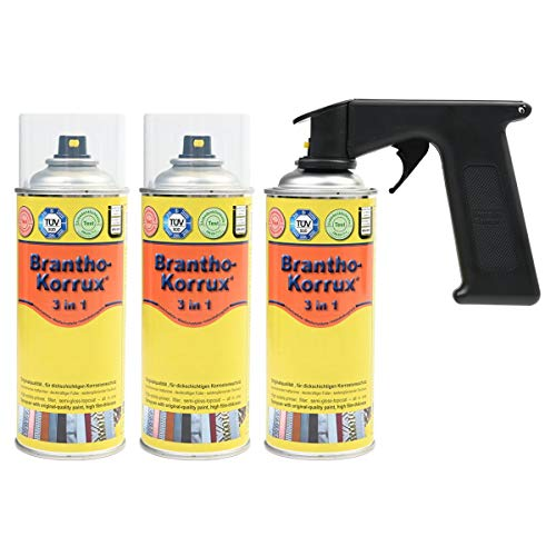 Brantho Korrux 3 x 3 in 1 schwarz 400ml Spraydose Rostschutz Metallschutzfarbe + Spraydosenhandgriff