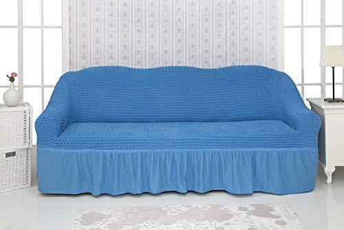 Mixibaby Sofabezug Sofahusse Sesselbezug Sitzbezug Sesselüberwurf Stretchhusse 3 2 1, Farbe:blau, Variante:3-Sitzer-Sofa