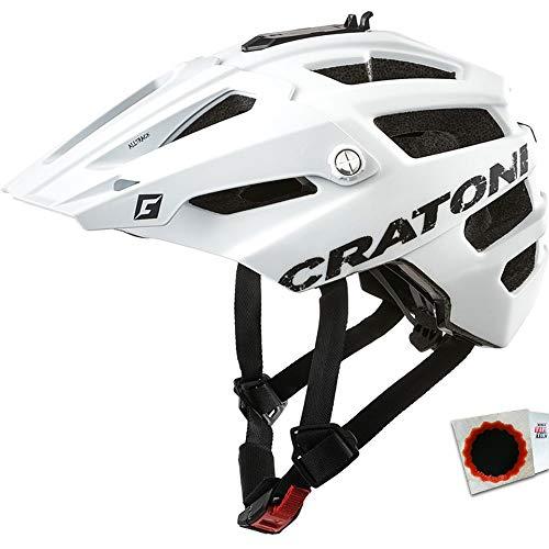 Cratoni Fahrradhelm AllTrack MTB Gr. M/L 58-61cm weiß gummiert +Flicken
