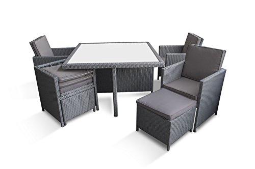 Ragnarök-Möbeldesign PolyRattan - DEUTSCHE Marke - EIGNENE Produktion - 8 Jahre GARANTIE auf UV-Beständigkeit Gartenmöbel Essgruppe Tisch + 4 Stühle & 4 Hocker 12 Polster Platinum Grau - 9