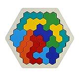 healthwen Rompecabezas de Madera Tangram, Rompecabezas de Juguete para niños, Rompecabezas Hexagonal de Madera, Rompecabezas de Madera, Juguetes de Aprendizaje geométrico