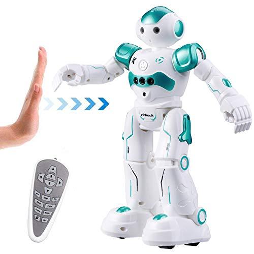 Virhuck R2 Robot Telecomandato per Bambini, Programmazione Intelligente e Gesture Sensing, Danza Cantante Camminare RC Robot Giocattolo, 500 mAh, Carica USB - Ciano