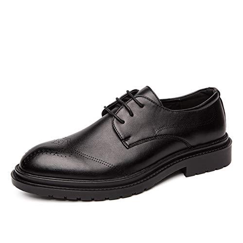 WZQDM Oxfords Zapatos para Hombres Burnish Toe Brogues Brogues 3-Ojo Lace Up Grueso Tolerante Tolerante Cuero sintético Condón Suela (Color : Black, Size : 38 EU)
