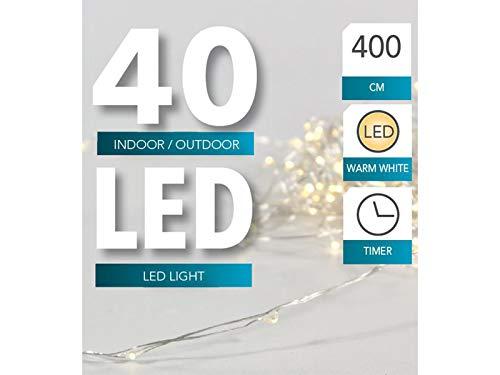 20er 40er 100ER filo filo di luci a LED con timer per interni e esterni NUOVA luce catena argento filo bianco caldo 40er