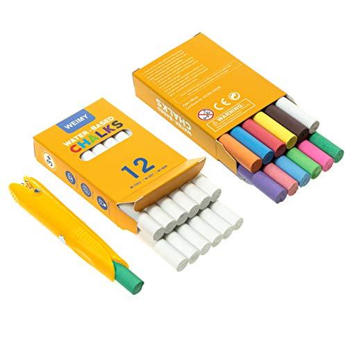 KAYIVA Non-Toxic Premium White Dustless Chalk (12 ct Box) and Colored Dustless Chalk (12 ct Box) Truly Dust Free Chalk for Art, Decorating (Yellow Box) (12white12color holder-Y)