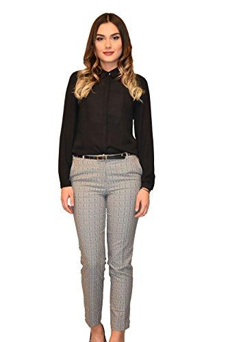 Golden klederdracht-damesbroek Treggings business elegant geruit visgraat zwart wit grijs