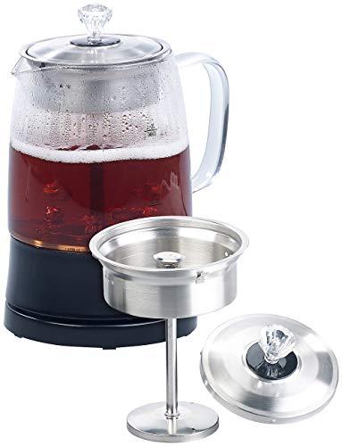 Rosenstein & Söhne Teemaschine: 2in1-Glas-Teebereiter & Wasserkocher, Edelstahl-Sieb, 800 Watt, 1,2 l (Perkolator)
