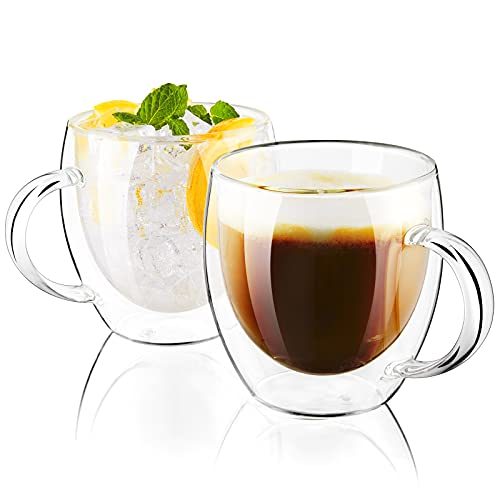 Cappuccino Cup, 8 oz Double Wall Espresso Coffee Cups, Clear Glass Coffee Mugs with Handle for Espresso, Cappuccino, Latte, Tea, Perfect Size for Triple Shot Espresso, Set of 2