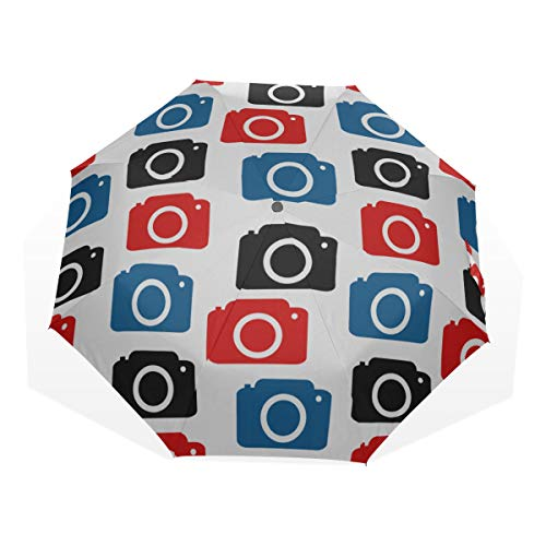 Große Reise Regenschirm Kamera Fotografie Fashion Style 3 Faltkunst Regenschirme (Außendruck Sonnen- und Regenschirm Regenschirm Faltschirm für Frauen Faltschirme Kompakt