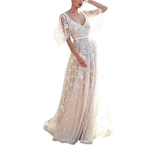 Pandaie-Womens Dresses, Women V-Neck Off Shoulder Lace Formal Evening Party Wedding Dress Long Sleeve Dresses (Short-White, Asian Size: Medium)