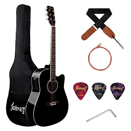JUAREZ Arpéggio 41 Inch Semi-Acoustic Guitar Kit, Spruce Top, with Equaliser, Black