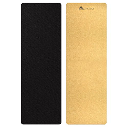 Aurorae PRO Natural Cork/Rubber Yoga Mat, Slip Free,Sustainable, Safe Non-Toxic, Free of PVC, TPE, Chemicals/Plastics. Biodegradable and Recyclable, Anti Static, Breathable, 73' x 24 1/2' x 5mm Thick.