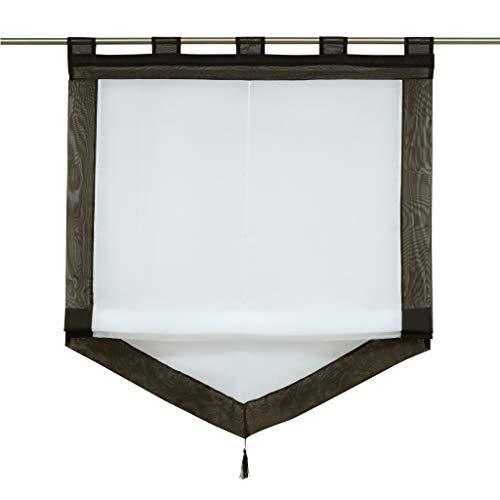 Yujiao Mao Voile Transparenter Raffrollo Raffgardinen Kontrastfarbe mit Schlaufen 1er-Pack, Weiß-Kaffee, BxH 100x140 cm