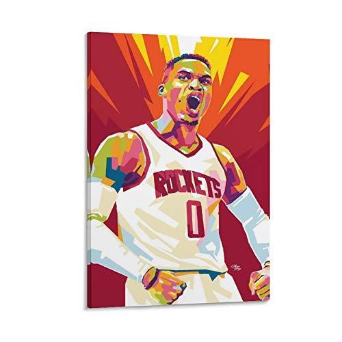 Russell Westbrook NBA Art - Lienzo decorativo para pared (20 x 30 cm)