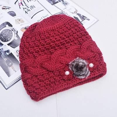 Gorro de punto para mujer, diseño floral, lana mixta, de conejo, cálido, bufanda de punto para exteriores (color: rojo)