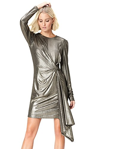 Amazon-Marke: find. Abendkleid Damen Metallic-Glanz und Wickeldesign, Gold (Gold), 38, Label: M
