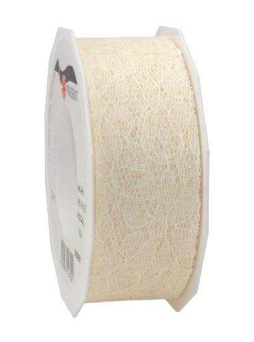 C.E. Pattberg DERBY Dekorationsband créme, 25 m Geschenkband aus Spitze, 40 mm Breite, Schleifenband zum Dekorieren & Basteln, zum Einpacken für Geschenke