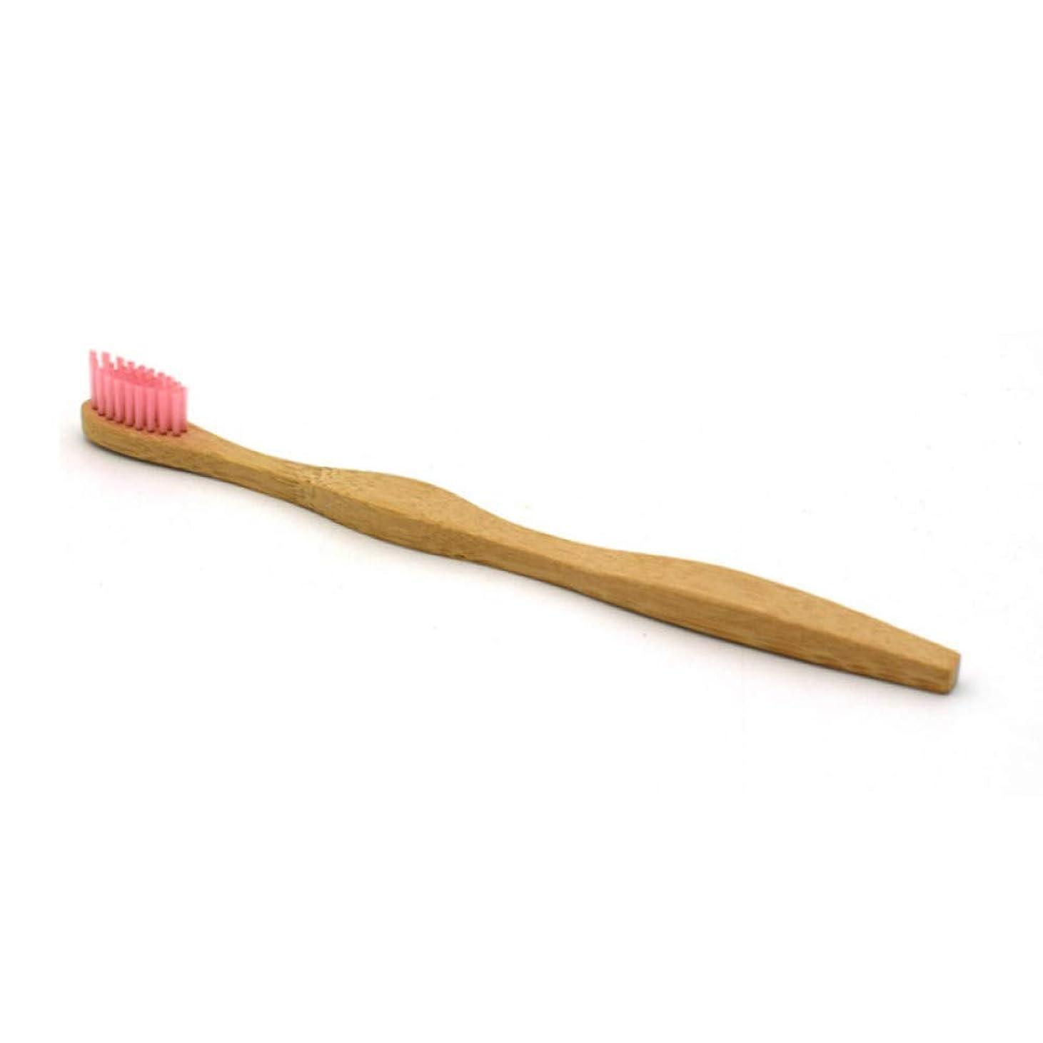 ハーフ比較ぎこちない1ピースオーラルケアヘッド竹歯ブラシ卸売環境木製レインボー竹歯ブラシ柔らかい毛、大人、ピンク