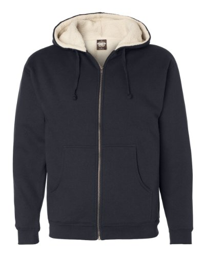 Independent Trading Co. Mens Sherpa Lined Full-Zip Hooded Sweatshirt (EXP40SHZ) Navy/Natural XL