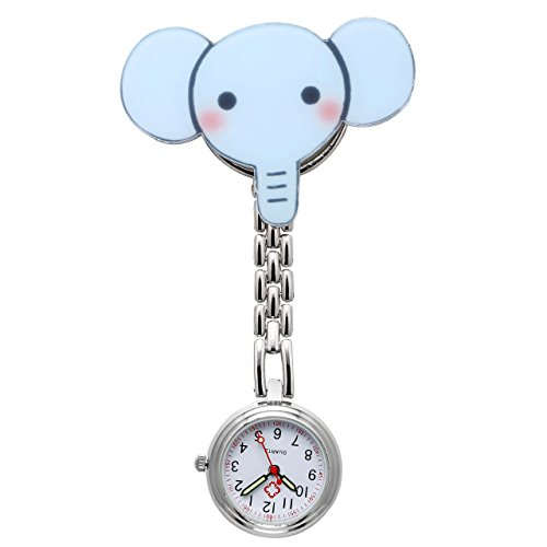 JSDDE Uhren Krankenschwesteruhr Silikon Cute Muster FOB Uhr Pflegeruhr Pulsuhr Ketteuhr Ansteckuhr Schwesternuhr mit Clip Analoge Quarzuhr Taschenuhr (Elefant)