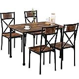 YIREAUD Juego de 4 mesas de comedor y sillas de cocina, mesa de comedor de madera maciza y patas de metal.
