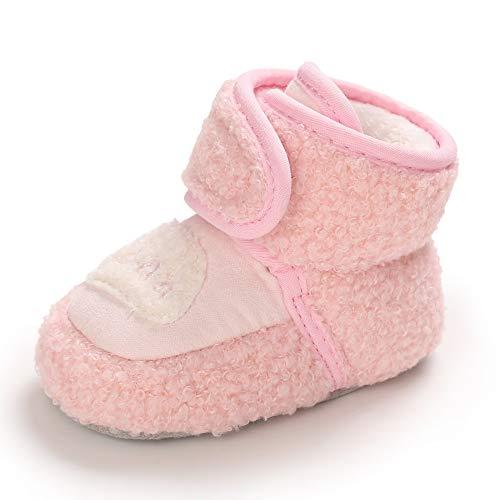 Botas Bebe Niño Niña Invierno Botines Botitas Bebé Recién Nacido Calentar Zapatillas Casa Zapatos Primeros Pasos 0-6 Meses Talla 18 Rosa