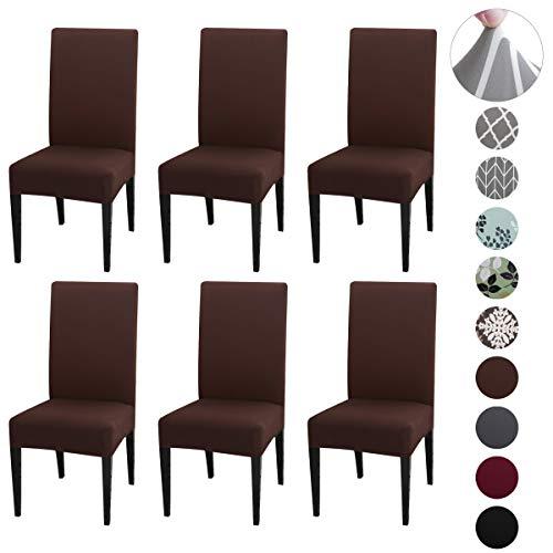 Qimaoo Stuhlhussen 6er Set Stretch Stuhlbezug Weich Stuhlhussen Universal Moderne Beschützer Pflegeleicht und Langlebig - Braun