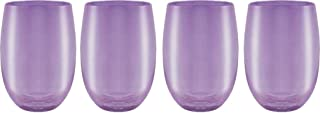 Circleware 44832 Uptown Stemless Wine Glasses, Set of 4, Party Entertainment Dining Beverage Drinking Cup Glassware for Water, Beer, Juice, Liquor, Whiskey & Bar Barrel Decor Gifts, 11.5 oz, Purple