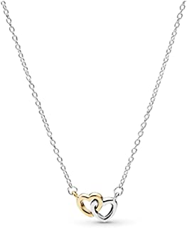 United In Love Necklace, Two Tone - Sterling Silver and 14K Yellow Gold, 17.8 IN