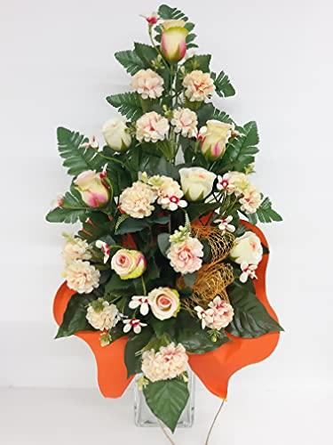 dolarestore Ramo para Cementerio, confeccionado artesanalmente con Flores Artificiales (Tela) Medida 60cm Pom-Pom Crema (81004)
