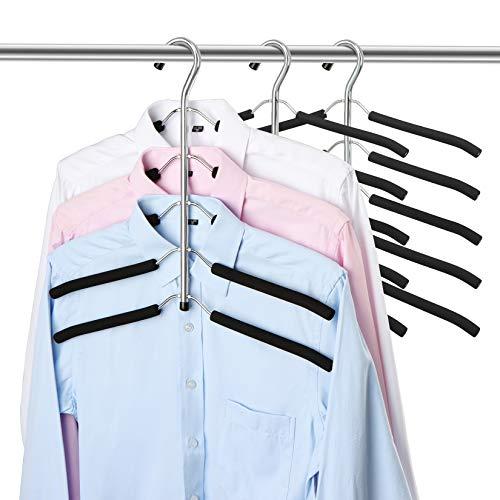 ZriEy Perchas 5 en 1, Percha Multifuncional Organizador para Adultos Que Ahorra Espacio,Antideslizantes y Resistentes, Perchas Estándar para Trajes, Abrigos, Suéter Pantalones Camiseta 3 Pack