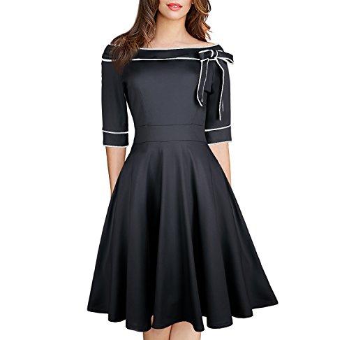 Casual Off Shoulder Pocket Dress 1950 Vintage Swing Ladies Formal Wear Work Rockabilly Cocktail Dresses with Bow 188 (M, Black)