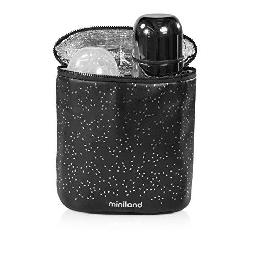 Miniland - Doppelter Isolierbeutel für Flaschen und Thermosflasche, Thermo-Flaschenhalter, Deluxe-Kollektion, silberfarben