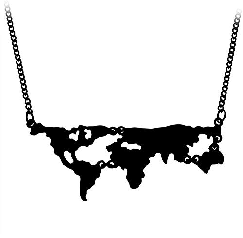 DUEJJH Co.,ltd Collar Mapa Colgante Collar Comprensión Geografía Maestro Estudiante Regalos Joyería de la Tierra